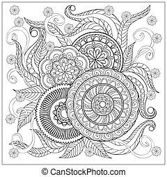 Imade with mandalas and flowers - Hand drawn image with ...