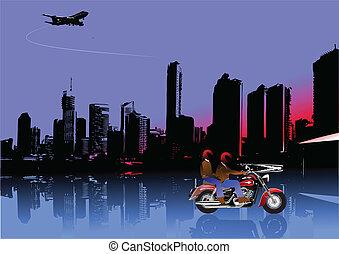 imag, motocykl, panorama, miasto