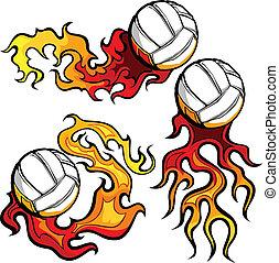 imag, vektor, volleybollar, flammor