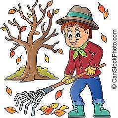image, à, jardinier, thème, 3
