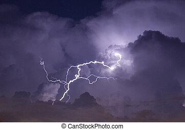 image, éclair, téléobjectif, orage, nuit, grève, pendant