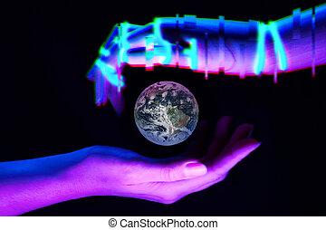 image, éléments, nature., association, robot's, symbole, la terre, meublé, nasa, entre, mains, femme, ceci, technologie, gens, savety