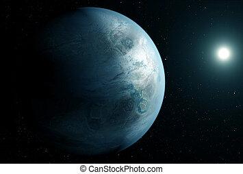 image, éléments, right., bleu, exoplanet, soleil, nasa, inhabituel, espace, meublé, ceci