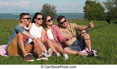 image, été, prendre, crosse, amis, selfie