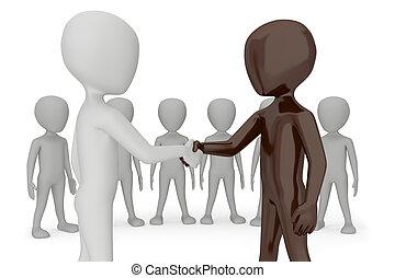 image., δίνω , ανθρώπινο όν , δυο , χέρι , δικό τουs , handshake.3d, φόντο , άσπρο , 3d
