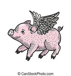 image., 白, かきなさい, 赤ん坊, ベクトル, スケッチ, 天使, 黒, 手, 板, illustration., スタイル, わずかしか, 引かれる, 飛行, 彫版, 色, imitation., 小豚
