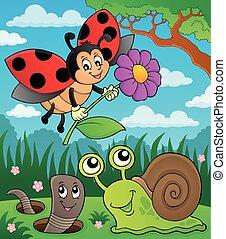 image, 8, printemps, animaux, thème, insecte