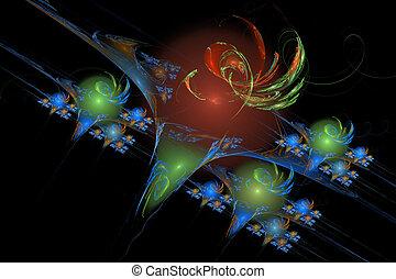 image:, abstratos, experiência., vórtice, pretas, fractal