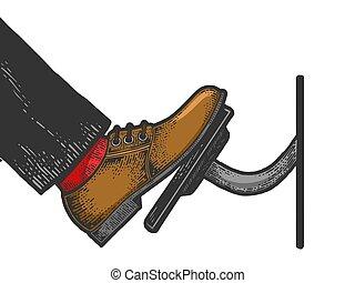 image., acelerador, design., bosquejo, grabado, tabla, illustration., dibujado, camiseta, imitation., negro, coche, vector, pedal, rasguño, válvula reguladora, ropa, pie, blanco, prensas, impresión, mano, estilo