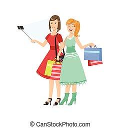 image, achats, prendre, deux, petites amies, illustration, selfie, crosse