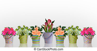 Image and illustration composition Floral border Flowers in colorful containers for border or stationery background, invitation with copy space