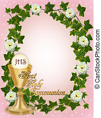 Image and illustration composition for First Holy Communion Invitation Border or frame for girl with gold text and copy space