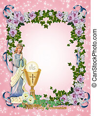 Image and illustration composition for First Holy Communion Invitation Border or frame with gold chalice and angel. Gold text and copy space
