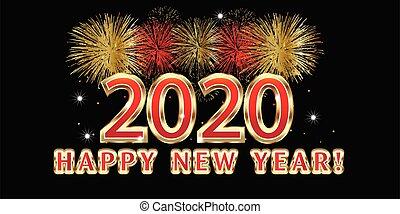image, année, vecteur, nouveau, conception, 2020, fête, fond, feux artifice, célébration