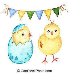 image, aquarelle, vacances, poulets, ensemble, flags., ...