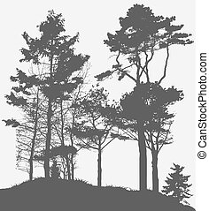 image, arbre, illustration, silhouette., vecteur, nature.