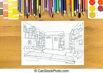 image, architectes, bureau bureau