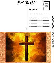 image, ardent, gabarit, vide, chrétien, vide, carte postale, croix