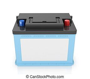 image., automóvil, aislado, fondo., baterías, blanco, 3d