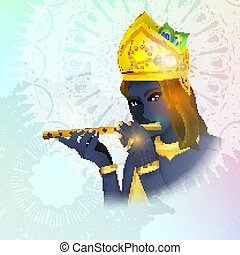 Image avatar of God Krishna. Hinduism is a religion. Vector....