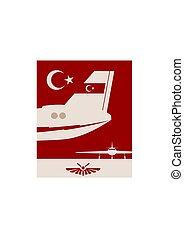 image, avion, bannière, queue, vertical