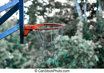 image, basket-ball, but, arrière-plan., arbres, champ