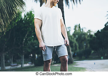 Image Bearded Muscular Man Wearing White Empty t-shirt and...