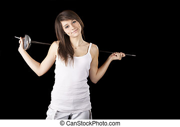 Image beautiful girl with a rapier on black