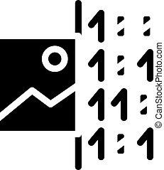 image binary code glyph icon vector illustration
