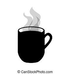 image, boisson, chaud, icône, tasse