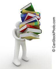 image., books., vrijstaand, student, baal, 3d