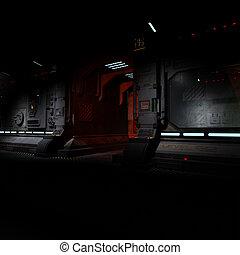 image, bord, fond, couloir, spaceship., sombre