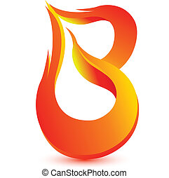 image, brûler, vecteur, lettre, conception, b