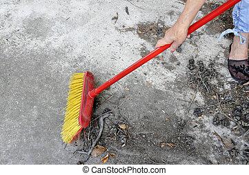 image, brosse, nettoyage, déchets, rouges