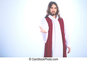image, brouillé, christ, jésus