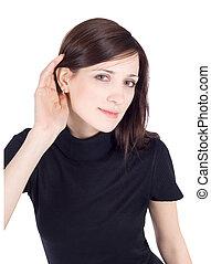 image, brunette, jeune, clair, écoute, commérage