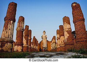 Image buddha - ancient city,Ayutthaya Thailand