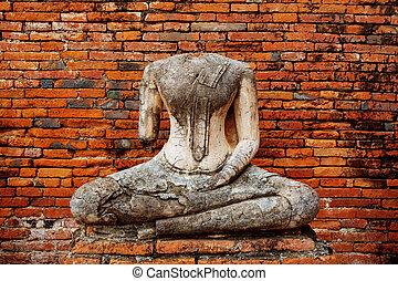 Image buddha in ayutthaya thailand