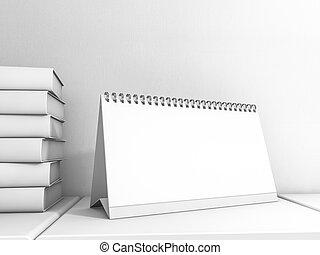 image, calendrier bureau, mockup., 3d