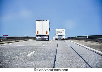 image, camion, autoroute