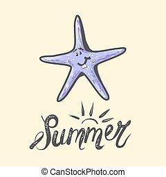 image, caractère, heureux, bleu, illustration, mer, mignon, isolé, life., vecteur, marin, enfants, starfish., dessin animé, rigolote, star.