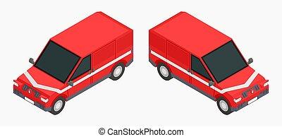 image, cargaison, transport, rouges, voitures, stockage, isométrique, vecteur