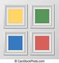 image, carrée, arc-en-ciel, bois, couleur, mettez stylique, toile, cadres, ton