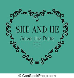 image, chaleur, vecteur, mariage, date, sauver