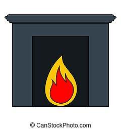 image, cheminée, isolé