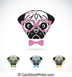 image, chien, arrière-plan., vecteur, blanc, lunettes