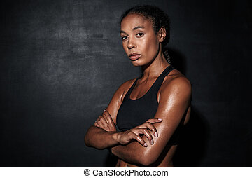 Image closeup of attractive african american woman in sportswear