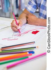 image, collège, dessin crayon, étudiant, coloré