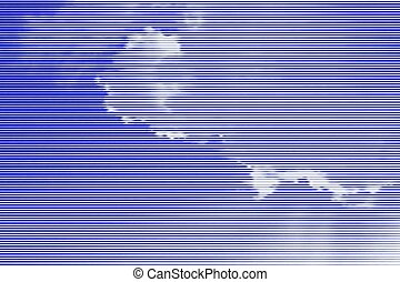 Image collage of blue sky with clouds and rays of sunshine from horizontal lines and paths of variable color thickness. Vector illustration.