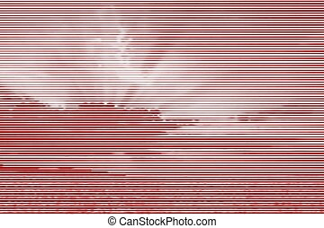 Image collage of sunset over the sea from horizontal lines and paths of variable thickness color red on white background. Vector illustration.